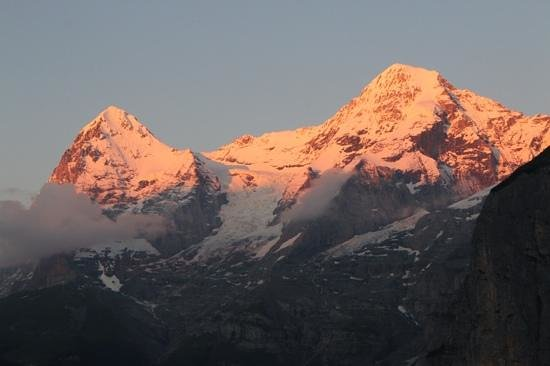 Eiger Guesthouse: The view from our balcony late in the evening