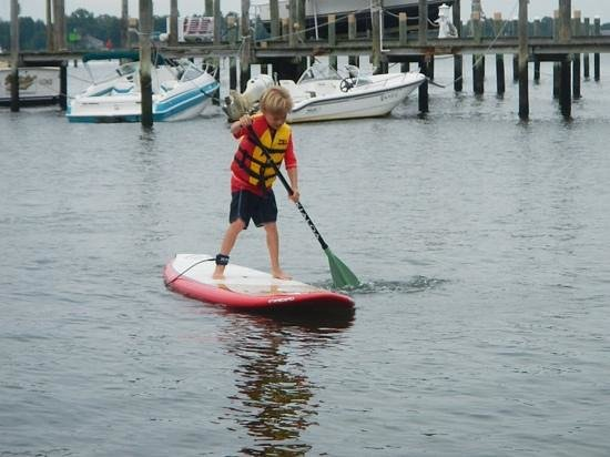Paddle Surf New Jersey : Paddling with my 9 year old son Thomas