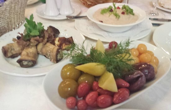 Restaurant Baku: Pickled Fruits in the foreground. Stuffed eggplant in the back