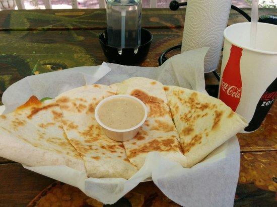 Lobo's Mixed Grill: Jerked chicken quesadilla.