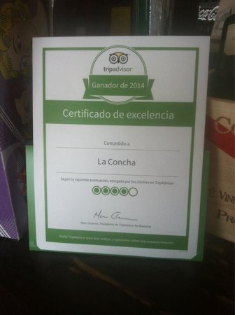 Balneario de la Concha: Certificado de excelencia