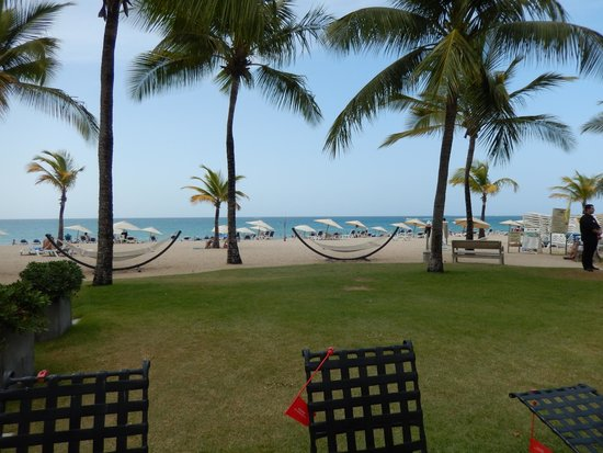 Courtyard Isla Verde Beach Resort: Hammocks along beachfront