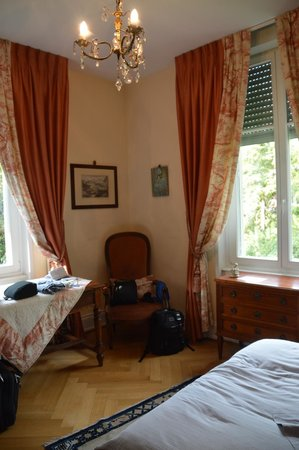 Peonia at Home: Our room with Queen bed, a sink, wardrobe and 2 large windows.