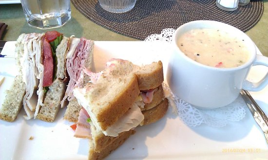 Josephine's Tea Room & Gifts: Club Sandwich on Wheatberry bread with Lobster Bisque