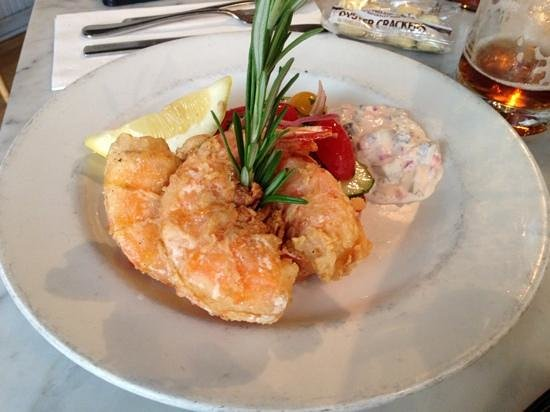 Pearl Oyster Bar: Salt crusted shrimp - yes, you can eat the shell!