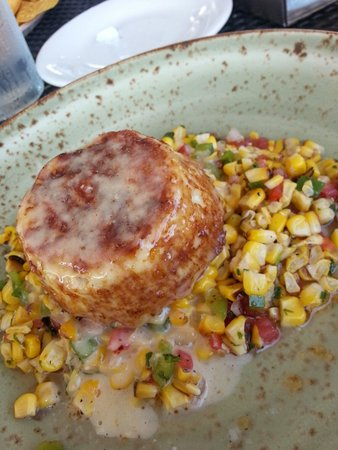 Severn Inn: No filler crab cake with corn salad - gluten free!