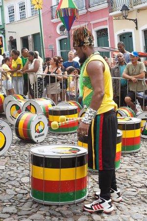 Olodum percussionist waiting to perform.