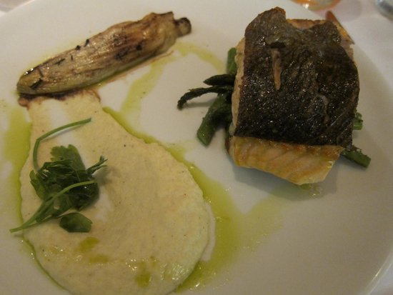 Fig & Olive Fifth Avenue : Salmon with braised endive, celery puree and asparagus.