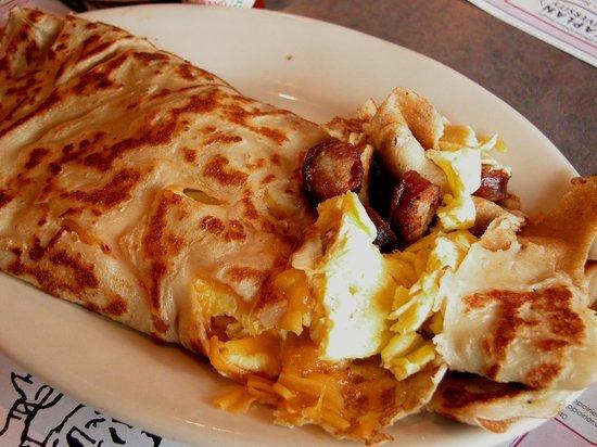 Sabattus, ME: Sausage / Cheddar / Egg Stuffed Crepe