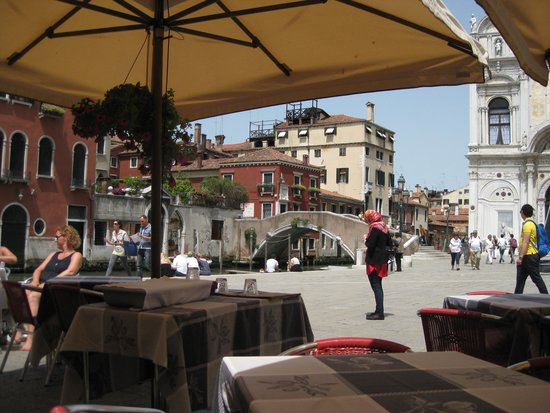 Snack Al Cavallo: View of piazza and canal from our table
