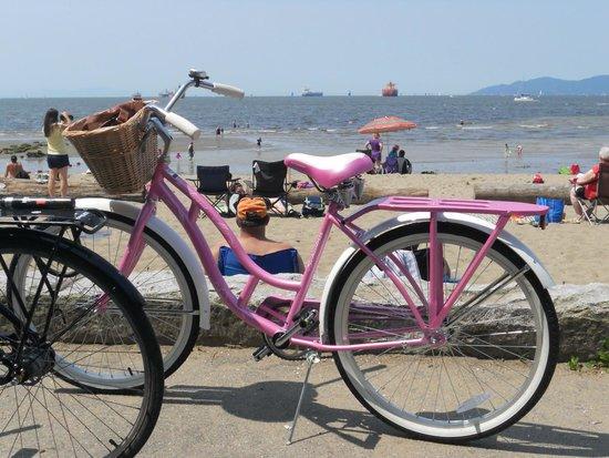 Vancouver Seawall: Pink bike - seawall