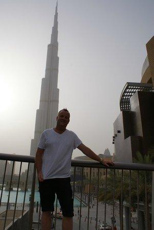 Outside by the Burj Khalifa.