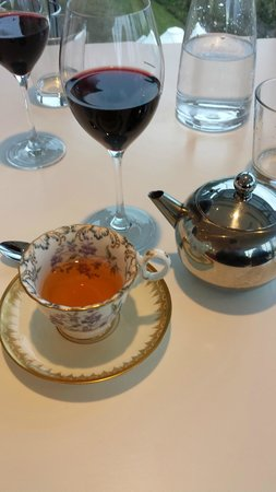 The Restaurant at the Art Gallery of NSW Table set with my tea and glass & Table set with my tea and glass of wine English Breakfast tea was ...