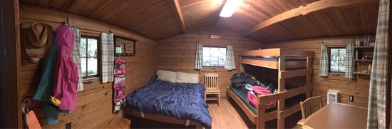 Alfred A Loeb State Park: A look inside the cabins. Must bring own bedding. Mirror in cabin but if short would have to sta