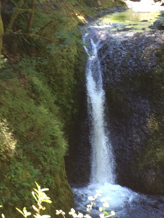 Hood River, Орегон: Oneonta George upper falls by damaged bridge. Top of loop trail. But could go further to triple