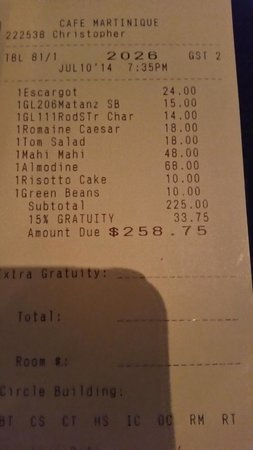 Cafe Martinique: Not worth the prices