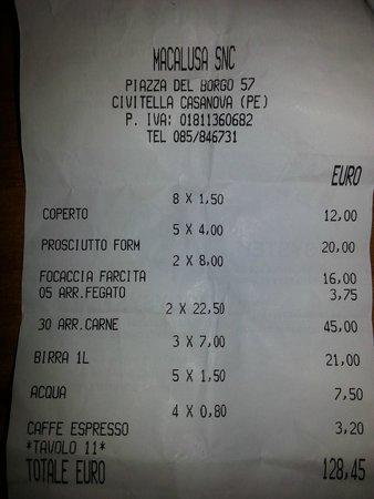 Civitella Casanova, Italia: Scontrino