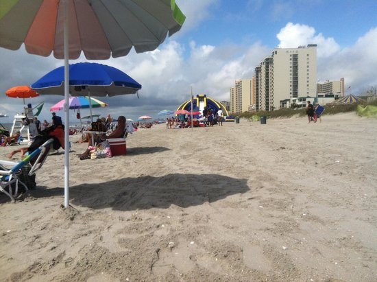 View from beach area in front of the Ocean Drive Beach and Golf Resort next to the OD Pavilion