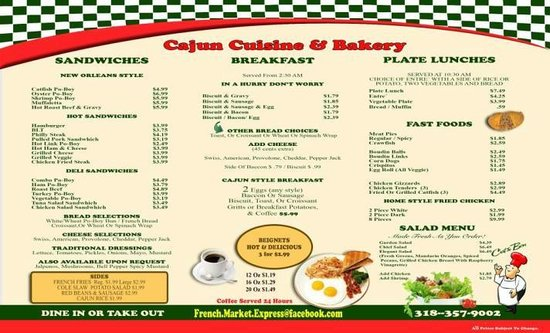 French Market Express Natchitoches  Menu Prices  Restaurant