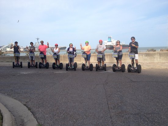 SegCity Guided Segway Tours: big ship in background at port