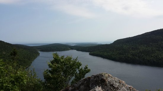 View of Jordan Pond from near the top of Bubble Rock