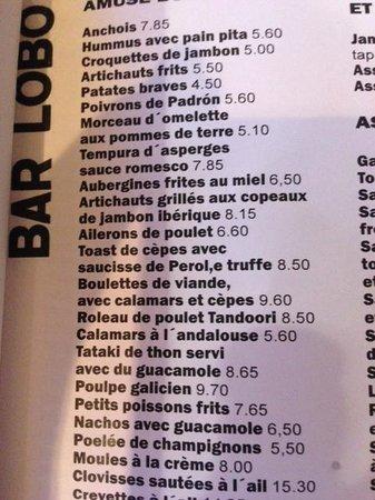 Bar Lobo Tapas Menu in French