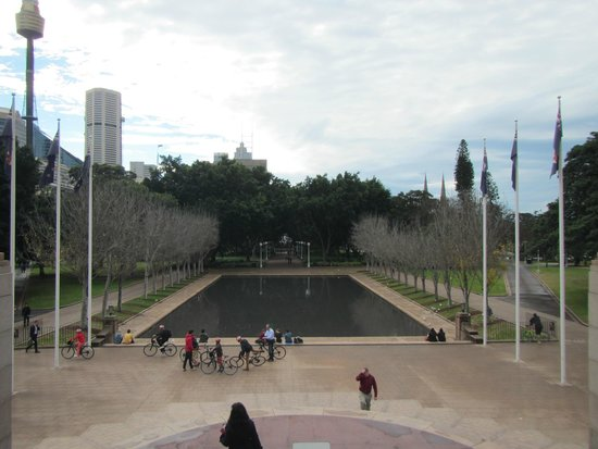 Anzac War Memorial: Looking out of the memorial towards a reflecting pond