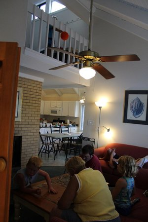 Waterwood Townhouses: Looking up into the loft area from the living room