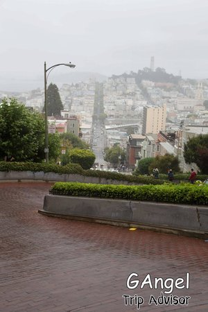 Lombard Street: From the top on a gloomy day