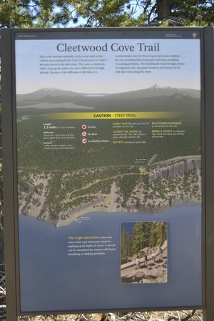 Crater Lake National Park: Warning on cleetwood cove