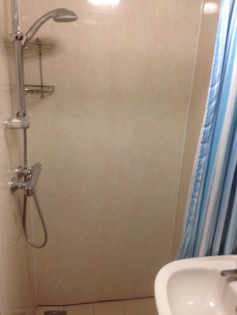 Macdonald Hotel: July 2014, small to say the least. Toilet right there practically in shower. Rust of curtain rod