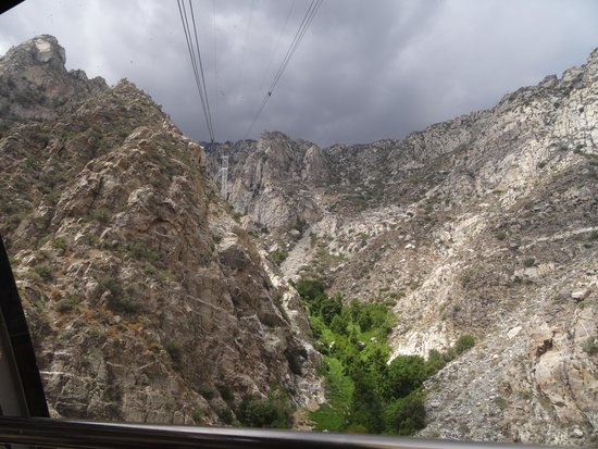 Palm Springs Aerial Tramway: Looking up the mountain from within the cabn