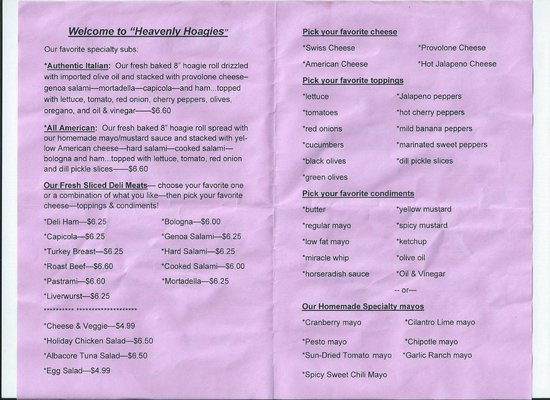 Heavenly Hoagies: Menu 1