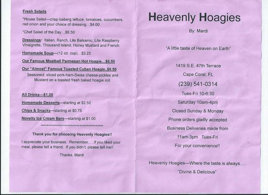 Heavenly Hoagies: Menu 2