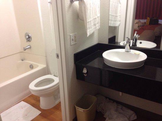 Motel 6 Pleasanton, CA - Bathroom Area (Room 110)