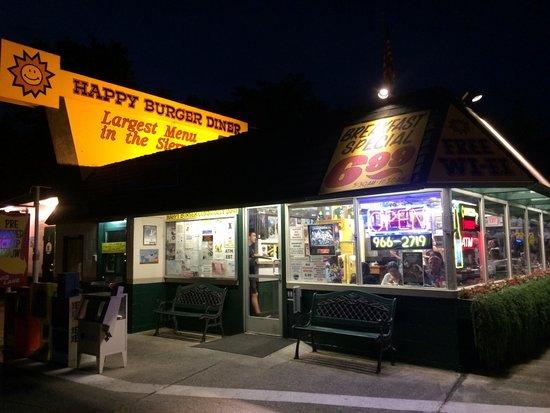 Happy Burger: Outside at night