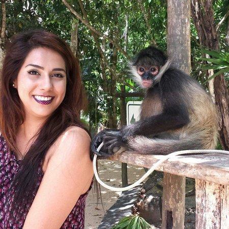 Cenote Aktun Chen: Con el mono de la entrada :)