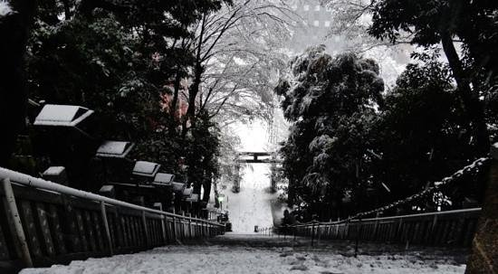 Atago shrine stairs in the snow