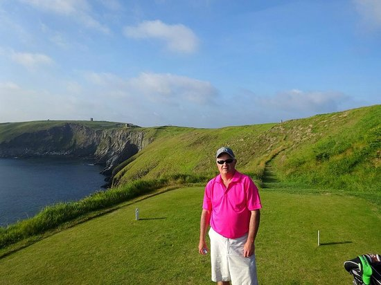 Old Head Golf Links: Tee box on the 12th hole.  The fairway is on that hill