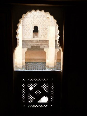Ali Ben Youssef Medersa (Madrasa) : Through the window of an upstairs dorm room