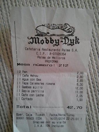 Mobby-Dyk (Mobidick) receipt Palma Mallorca