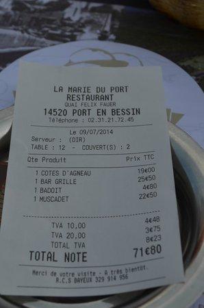 La Marie du Port : Rekening