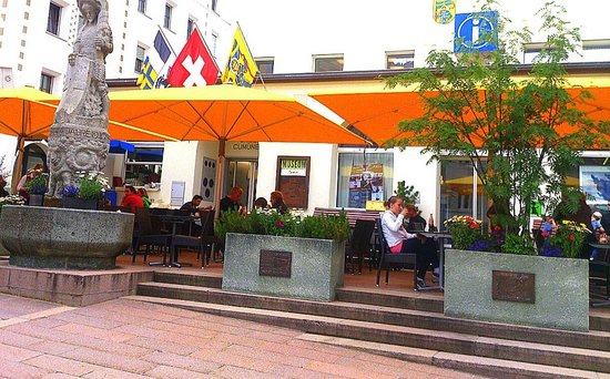 St. Moritz - Hanselmann - cafe in front of tourist information is operated by Cafe Hanselmann