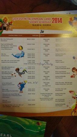 Vinpearl Luxury Nha Trang : Расписание ежедневных развлечений