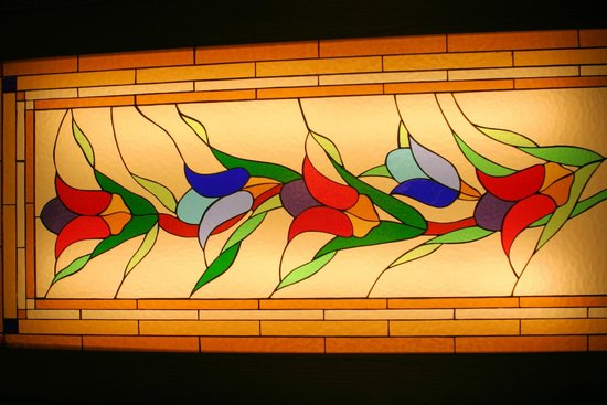 Historic Areas of Istanbul: Stained glass tulips in Topkapi Palace