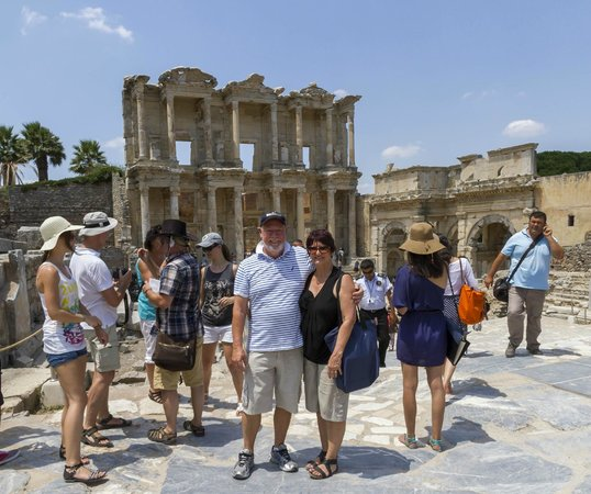 Kusadasi Private Ephesus Tours: In front of the library of Celsus