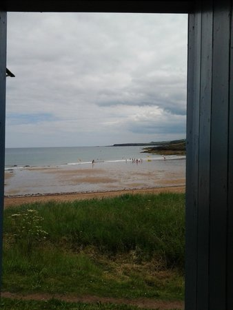 Whitfield Farmhouse B&B: View from inside the beach hut which is available for guests to use on nearby Coldingham Beach