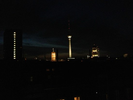 art'otel berlin mitte: View from bedroom balcony at night