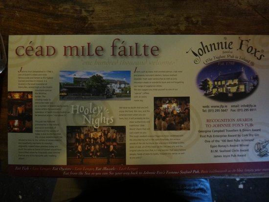"""Johnnie Fox's Pub: """"Hundred Thousand Welcomes"""