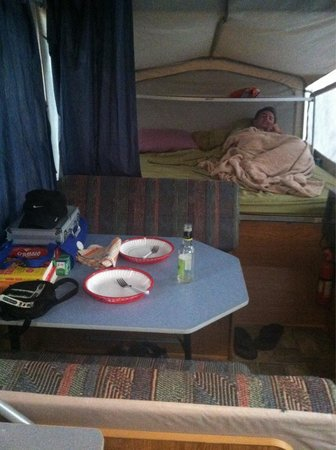 Charles Mears State Park : Eating and larger sleep area.